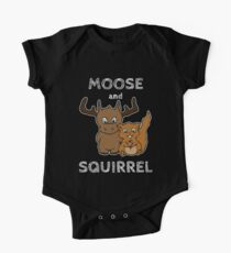 Moose and squirrel with text One Piece - Short Sleeve