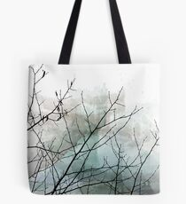 Gray Watercolor & Black Branches Tote Bag