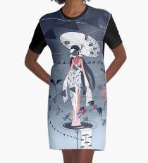 Kimono Birds Graphic T-Shirt Dress