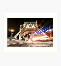 bus on tower bridge Art Print