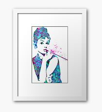 Audrey Hepburn Watercolor Pop Art  Framed Print