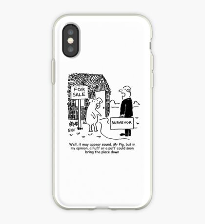 Mr Pig has his house assessed by a surveyor iPhone Case