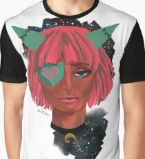 Dark Girl with Cool Horns Graphic T-Shirt