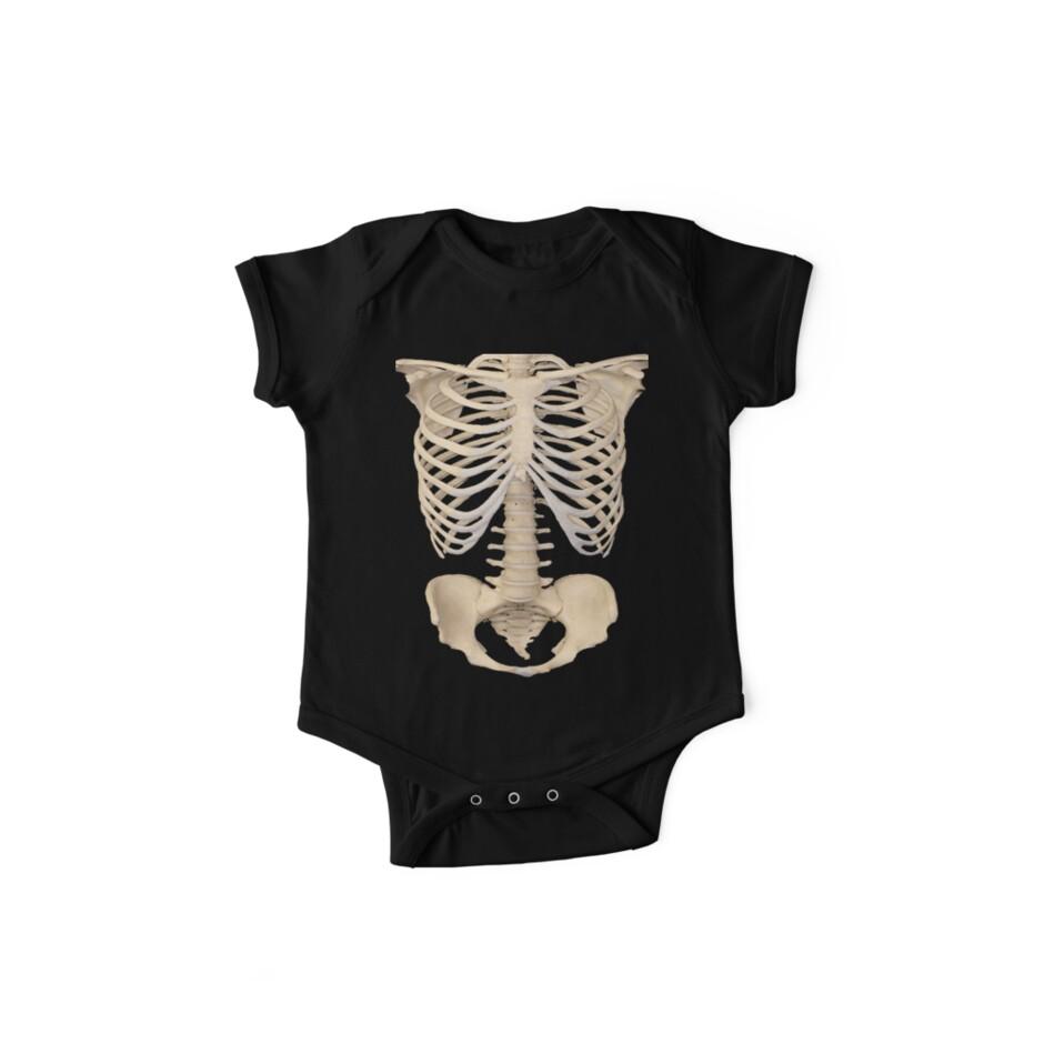 Skull Cage Short Sleeve Babygrow Skeleton Bones Inside Funny Halloween Outfit