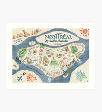 Map of Montreal, Canada Art Print
