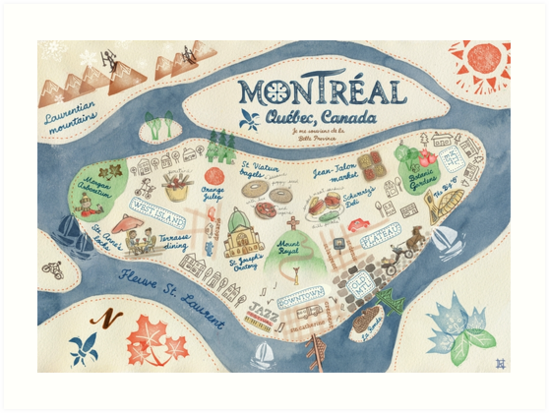 Map of Montreal, Canada\