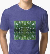 White Flower Fractal Tri-blend T-Shirt