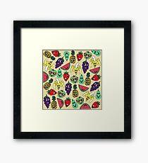 Funny Cute Fruit Illustrations Pattern Framed Print