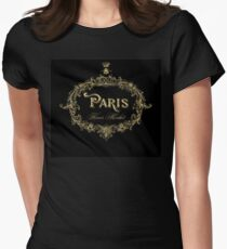 Paris Flower Market, typography, gold queen bee Womens Fitted T-Shirt