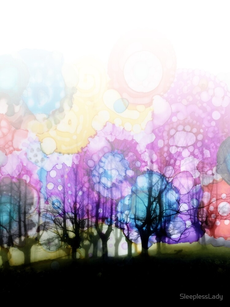 Jelly Bean Trees-watercolor, alcohol ink by SleeplessLady