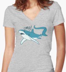 Thresher shark - OMG! Women's Fitted V-Neck T-Shirt