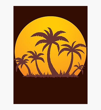 Palm Trees and Sun Photographic Print