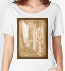 Cactus Garden Outlined Brown Women's Relaxed Fit T-Shirt