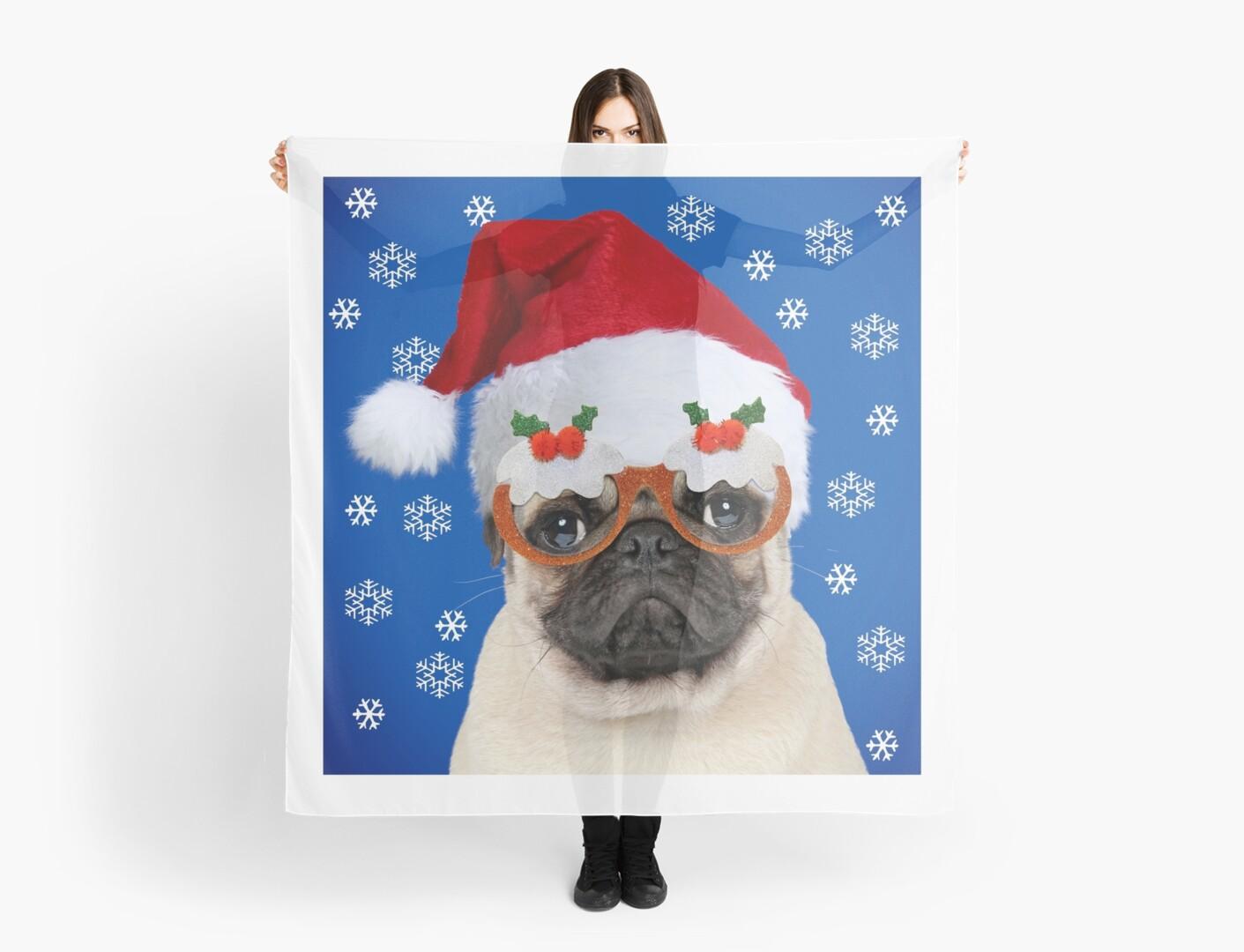 Pug dog wearing Christmas hat and glasses