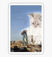 cat plays with gherkin Sticker