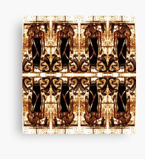 Egyptian Priests and Cobras in White and Gold II Canvas Print