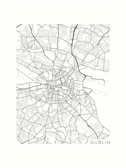Map Of Ireland Black And White.Dublin Map Ireland Black And White Art Prints By Mainstreetmaps