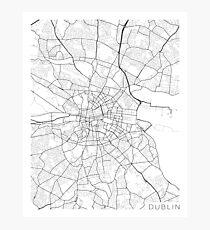 Dublin Map, Ireland - Black and White Photographic Print