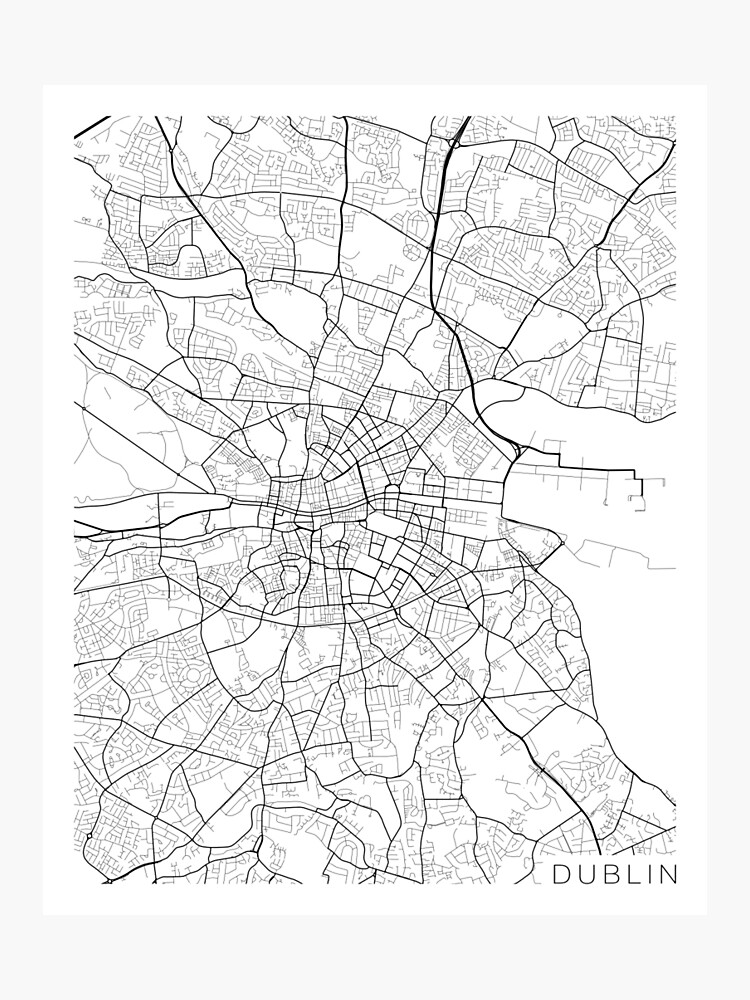 Map Of Ireland Black And White.Dublin Map Ireland Black And White Photographic Print By