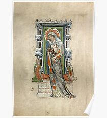 Medieval Miniature - Saint Hedwig of Silesia with Duke Ludwig of Legnica and Brieg and Duchess Agnés (1353 AD) Poster