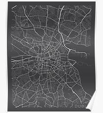 Dublin Map, Ireland - Gray Poster