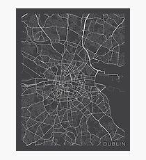 Dublin Map, Ireland - Gray Photographic Print