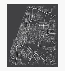 Tel Aviv Map, Israel - Gray Photographic Print