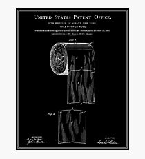 Toilet Paper Roll Patent - Black Photographic Print