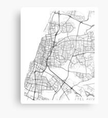 Tel Aviv Map, Israel - Black and White Metal Print