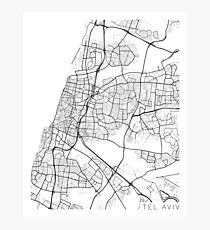 Tel Aviv Map, Israel - Black and White Photographic Print