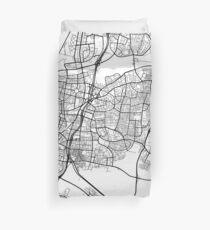 Tel Aviv Karte, Israel - Schwarz und Weiß Bettbezug