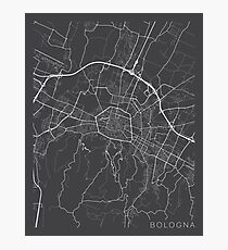 Bologna Map, Italy - Gray Photographic Print