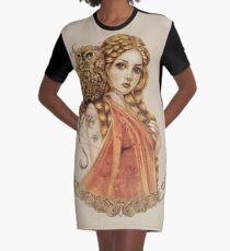 Blodeuwedd Owl Maiden Graphic T-Shirt Dress