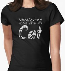Namastay Home with my Cat - White Text T-Shirt