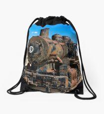 Steam powered Train Drawstring Bag