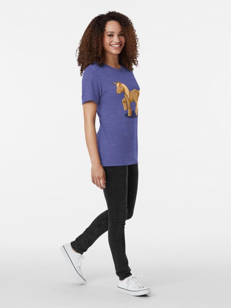 Alternate view of Unocchio the Wooden Unicorn Tri-blend T-Shirt