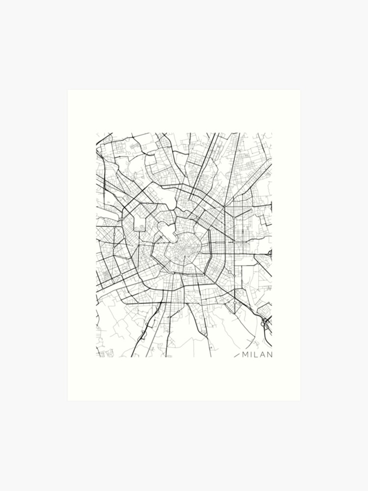 Map Of Italy Black And White.Milan Map Italy Black And White Art Print