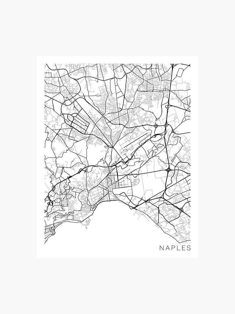 Black And White Map Of Italy.Naples Map Italy Black And White Photographic Print