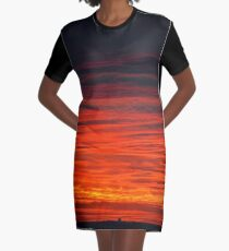 Dusk On Fire | Stony Brook, New York Graphic T-Shirt Dress