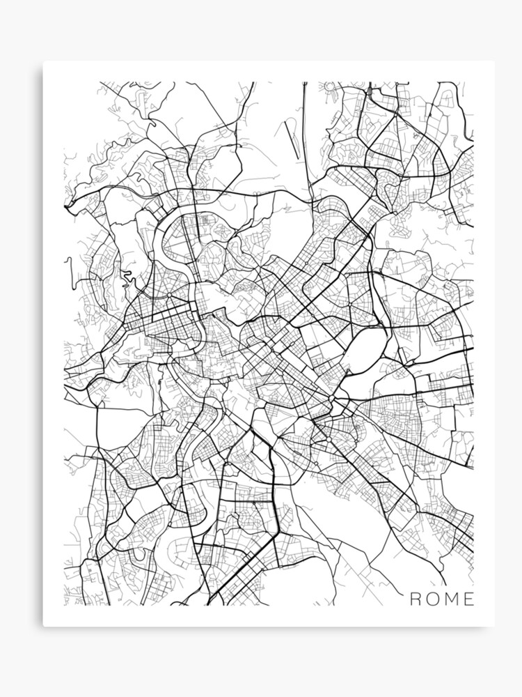 Map Of Italy Black And White.Rome Map Italy Black And White Canvas Print