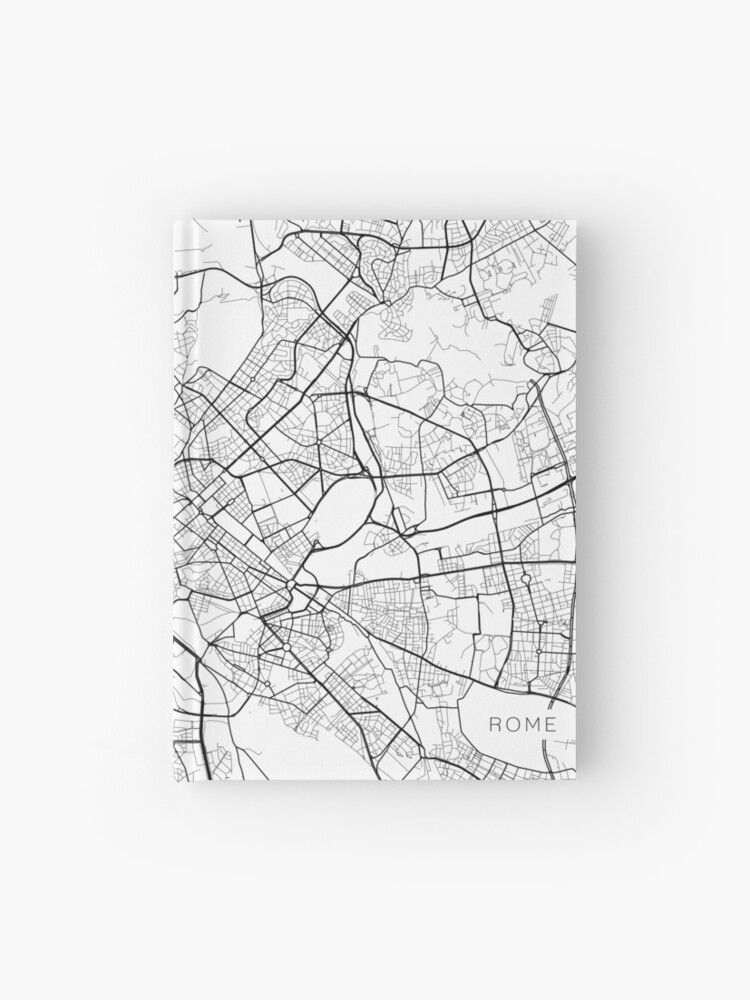 Map Of Italy Black And White.Rome Map Italy Black And White Hardcover Journal