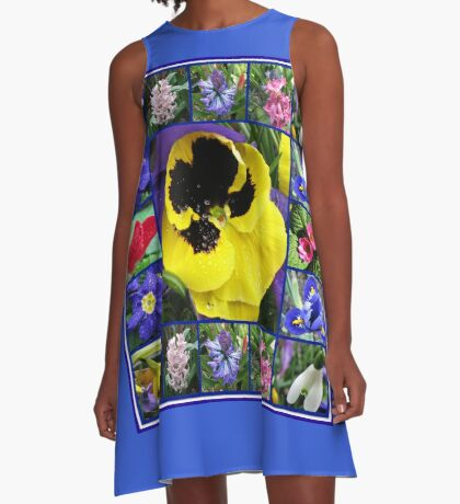 Riot of Colour Spring Flowers Collage A-Linien Kleid