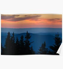 Dusk on the Berkshires From Mount Greylock, Massachusetts. Poster