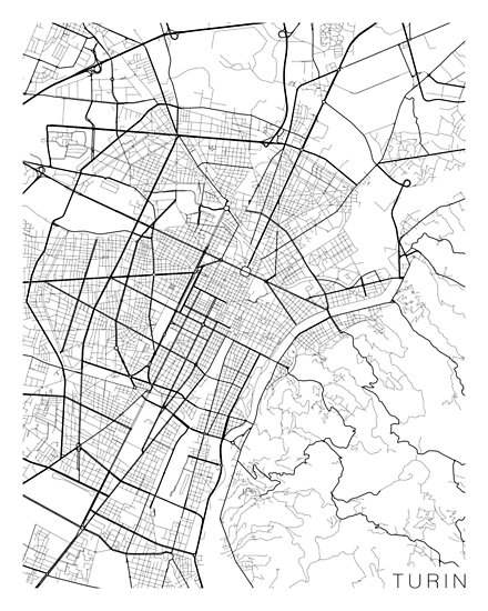 Turin Map Italy Black And White Posters By Mainstreetmaps