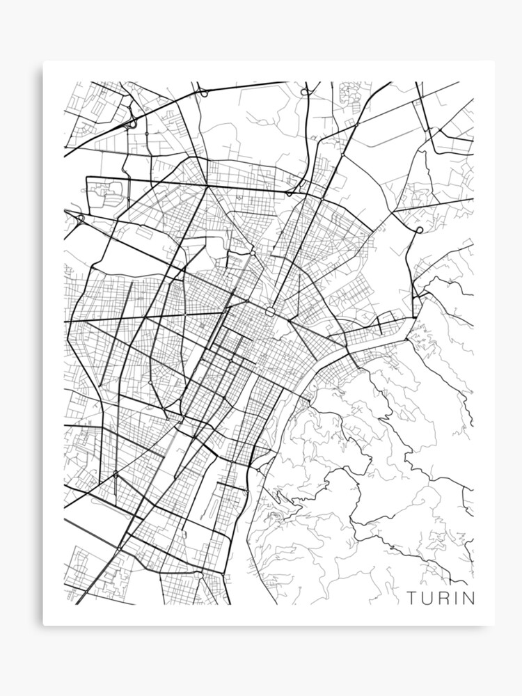 Map Of Italy Black And White.Turin Map Italy Black And White Canvas Print