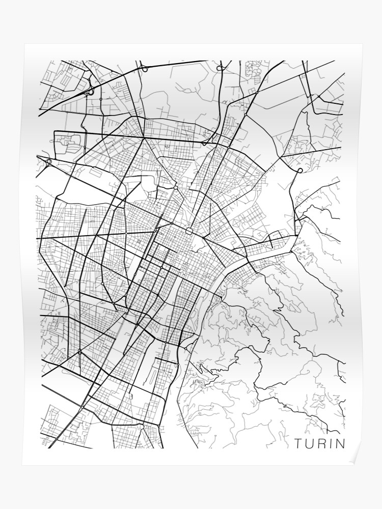 Black And White Map Of Italy.Turin Map Italy Black And White Poster