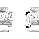 Embarrassing products in the Chemist's shop by Nigel Sutherland