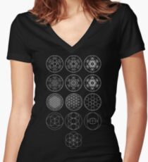 13 Circles [White] | Sacred Geometry Women's Fitted V-Neck T-Shirt