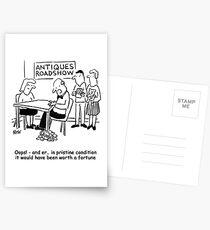 Oops - Antiques Roadshow expert drops an item Postcards