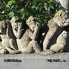 Hear, Smell, Speak and See No Evil - Monkey Statue in Bali by Keith Richardson